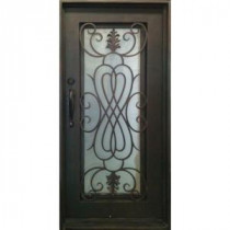 38 in. x 81 in. Copper Prehung Right-Hand Inswing Wrought Iron Single Straight Top Entry Door