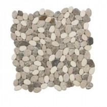 Jeffrey Court Emperador River Rocks 12 in. x 12 in. Marble Wall and Floor Tile
