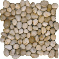 MS International White Polished Pebbles 12 in. x 12 in. Marble Floor & Wall Tile