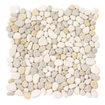 Jeffrey Court Creama River Rock Mosaic 12 in. x 12 in. Marble Wall and Floor Tile