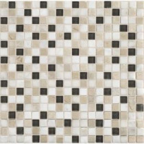 Daltile Stone Radiance Kinetic Khaki 12 in. x 12 in. x 8mm Glass and Stone Mosaic Blend Wall Tile