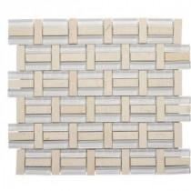 Jeffrey Court 13-3/4 in. x 11-3/4 in. Citrus Splash Glass/Beige Marble Mosaic Wall Tile