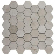Splashback Tile Crema Marfil Hexagon 12 in. x 12 in. Polished Marble Floor and Wall Tile