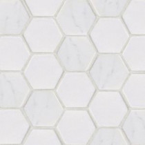 Jeffrey Court Statuario Hex Mosaic 12 in. x 12 in. Marble Floor and Wall Tile