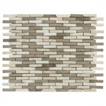 Jeffrey Court 11-3/4 in. x 12-5/8 in. Whispering Cliffs Grey Limestone/White Marble Mosaic Wall Tile