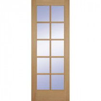 24 in. Clear Pine Wood 10 Lite French Slab Door