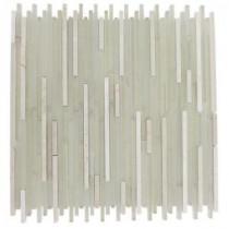 Splashback Tile Tetris Stylus Crema 11 in. x 13 in. Marble Floor and Wall Tile