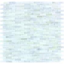 MS International Arabescato Carrara Splitface 12 in. x 12 in. Marble Mesh-Mounted Wall Tile