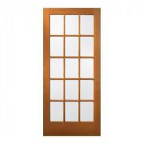 15 Lite Unfinished Wood Slab Entry Door