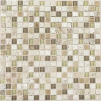 Daltile Stone Radiance Mushroom 12 in. x 12 in. x 8mm Glass and Stone Mosaic Blend Wall Tile