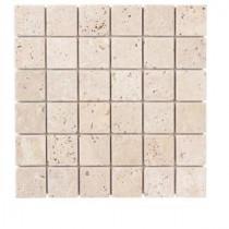 Jeffrey Court 12 in. x 12 in. Cream Travertine Mosaic Tile