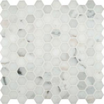 MS International Calacatta Gold Hexagon 12 in. x 12 in. Polished Marble Mesh-Mounted Mosaic Floor and Wall Tile