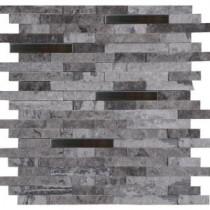 MS International Eclipse Interlocking 12 in. x 12 in. Metal/Stone Mesh-Mounted Wall Tile