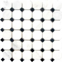 MS International Greecian White Octagon 12 in. x 12 in. Polished Marble Mosaic Floor and Wall Tile