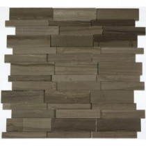 Splashback Tile Dimension 3D Brick Athens Gray Pattern 12 in. x 12 in. Marble Mosaic Floor and Wall Tile
