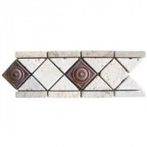 MS International Noche/ Chiaro Copper Scudo 4 in. x 12 in. Travertine/Metal Listello Floor & Wall Tile (1 Ln. Ft.)