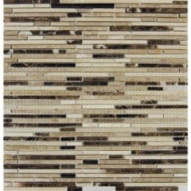 MS International Emperador Blend Bamboo 12 in. x 12 in. Brown Marble Mesh-Mounted Mosaic Tile