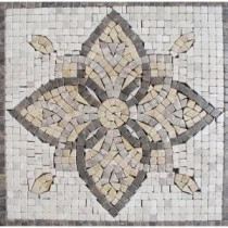 MS International Floral Blend Medallion 12 in. x 12 in. Tumbled Marble Floor & Wall Tile