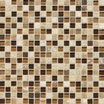 Daltile Stone Radiance Caramel Travertino 12 in. x 12 in. x 8mm Glass and Stone Mosaic Blend Wall Tile