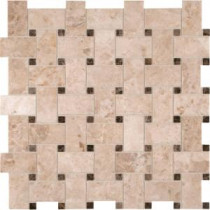 MS International Crema Cappuccino Basketweave 12 in. x 12 in. Polished Marble Mesh-Mounted Mosaic Floor and Wall Tile (10 sq. ft. / case)