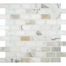 MS International Calacatta Gold 1 in. x 2 in. Polished Marble Mesh-Mounted Mosaic Floor and Wall Tile