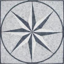 MS International Black & White Star Medallion 24 in. x 24 in. Tumbled Marble Floor & Wall Tile