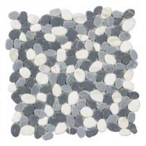 Jeffrey Court Carrara River Rocks Mosaics 12 in. x 12 in. Marble Floor / Wall Tile