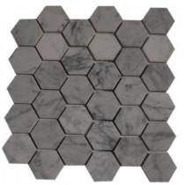 Splashback Glass Tile Hexagon White Carrera Mesh-Mounted Mosaic Floor and Wall Tile - 4 in. x 6 in. Tile Sample